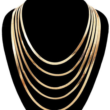 Gold Herringbone Layered Necklace