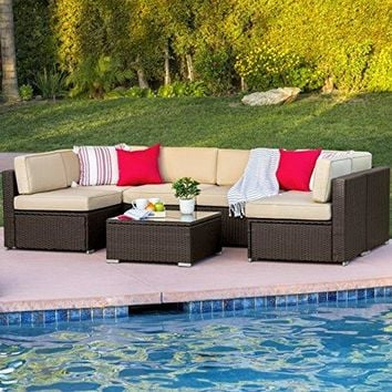 Patio & Garden Best Choice 7PC Furniture Sectional PE Wicker Rattan Sofa Set Deck Couch Brown