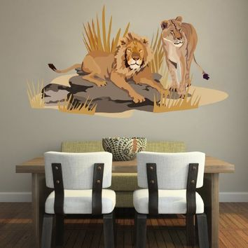 Lion Wall Decals Full Color Safari Decal Colorful African Safari Tree Tiger Animals Africa Kids Children Nursery Baby Room Wall Vinyl Decal Stickers Bedroom Murals