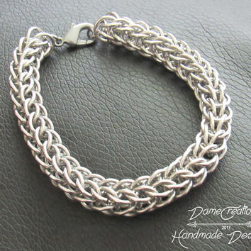 Silver Chainmaille Bracelet - Chain Maille Jewelry - Mens Chainmaille Necklace - Mens Jewelry - Gift for Him - Chunky Bracelet - Mens Chain