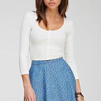 Polka Dot Denim Skirt