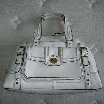 COACH HAMPTONS MIRANDA VINTAGE WHITE LEATHER LG TOTE BAG PURSE SATCHEL HANDBAG