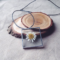 Real dried chamomile necklace 35x35x5mm hand crafted glass pendant with real dried chamomile inside