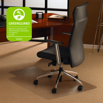 """Cleartex Ultimat Polycarbonate Clear Chair mat for Low & Medium Pile Carpets up to 1/2""""  , Rectangular with Front Lipped Area for Under Desk Protection(48"""" X 60"""")"""