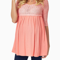 Coral-Knit-Overlay-Maternity-Tunic