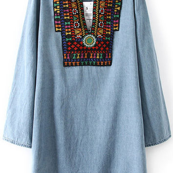 Blue Tribal Embroidered Long Sleeve Loose Mini Dress