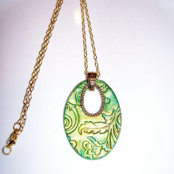 Metallic Green and Gold Floral Aroma Therapy Diffuser Pendant Handmade Essential Oil Personal Diffuser Necklace Clay Pendant Gold Accentsnt