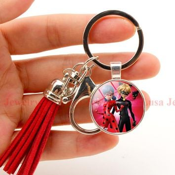 Miraculous Ladybug Key chain keyring Hot Animal jewelry gril/women bag car holder 5 styles