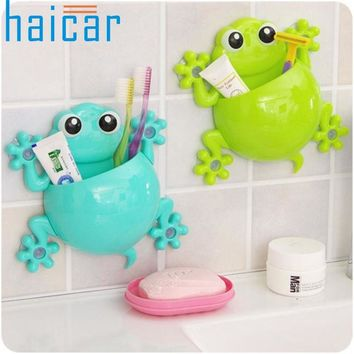 Haicar Top Grand Bathroom Accessories Set Cartoon Gecko Toothpaste Holder Wall Sucker Hook Tooth Brush Holder Toothbrush Holder