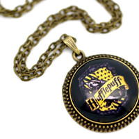 Hogwarts Hufflepuff Crest Pendant Necklace Antique by BeneathGlass