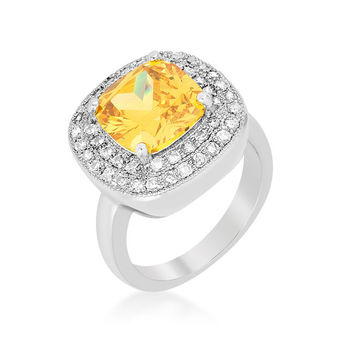 Blair Canary Yellow Cushion Cut Cocktail Ring | 5ct | Cubic Zirconia | Silver