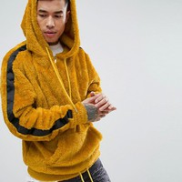 Sixth June Oversized Hoodie In Mustard Borg With Black Stripe at asos.com