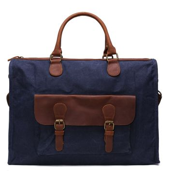 Waxed Canvas and Leather Briefcase Satchel Messenger Bag