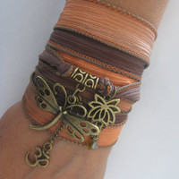 Dragonfly bracelet Hand dyed silk ribbon wrapped bracelet Lotus Jewelry Spiritual Bohemian OM Wrap silk Nature bracelet dragonfly jewelry