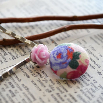 Fabric Button Hair Pins, Floral Bobby Pin, Floral Buttons, Shabby Chic Inspired Fabric, Pink Flowers, Party Favors, Birthday Gift