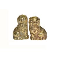 Vintage Brass Staffordshire Dogs Brass Dogs Mini Brass Dog Figurines Set of 2 Metal Dogs Miniature Staffordshire Dogs