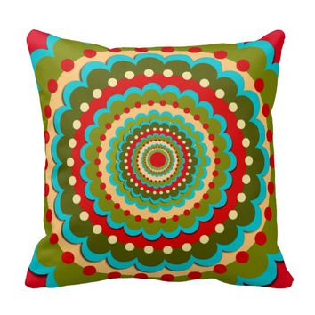 Vintage Abstract Mandala Turquoise Pillow
