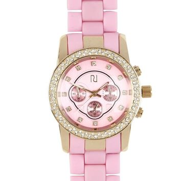 Pink and gold tone rhinestone encrusted watch - watches - women