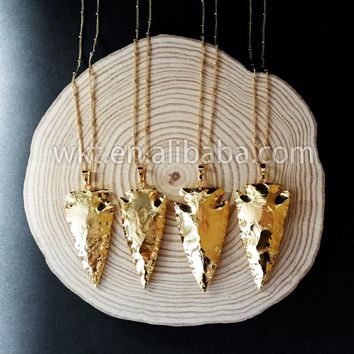 WT-N477  full gold dipped arrowhead necklace, fashion gold stone spear beads necklace women necklace jewelry accessories gift