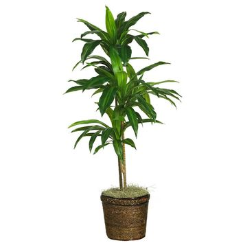 Silk Flowers -48 Inch Dracaena With Basket Artificial Plant