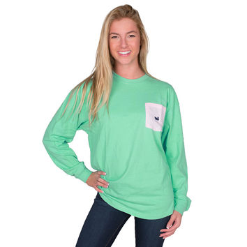 Rebecca Long Sleeve Jersey in Bimini Green with Pink Seersucker Pocket by Southern Marsh