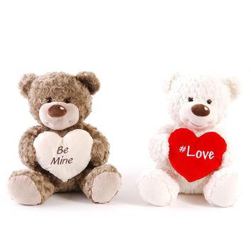 Soft and Cuddly Valentine Bears with Embroidered 'Be Mine' and '#Love' Messages Hearts in 2 Colors - CASE OF 12