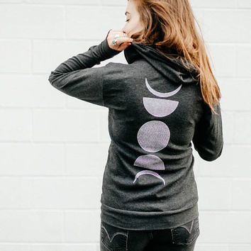 Moon Phase Hoodie, Zip Hoodie, Moon Sweatshirt, Moon Hoody, Black LIGHTWEIGHT Unisex Zip Up Hoodie, Christmas Clothing Gift, Men or Women