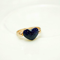cyber monday,Galaxy Blue Sandstone Heart Shaped Ring,Starry Sky Universe Heart Ring,Space Ring,Ocean Blue Ring, Aquamarine Sapphire Stone