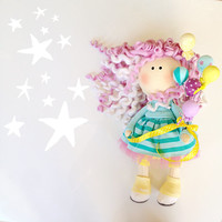 Textile doll HAPPY birthday gifts for her/ 1st birthday girl gift/ birthday gifts for sister/ adult birthday