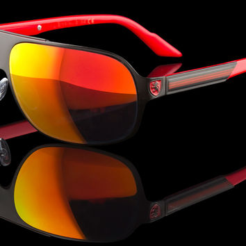 "Mens Racing Wraparound Metal Exotic Sunglasses ""Falcon"""