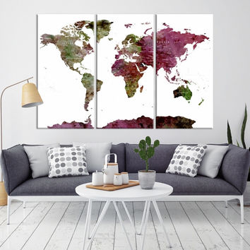 91258 - World Map Wall Art- World Map Canvas- World Map Print-  World Map Poster- World Map Art- World Map Push Pin- Push Pin World Map-