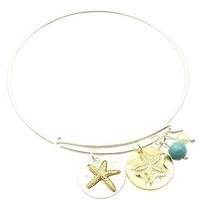Starfish Bangle Stackable Charm Braclet