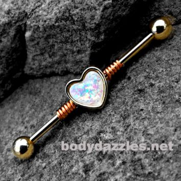 Gold Opal Glitter Heart Industrial barbell 14ga Surgical Stainless Steel Ear Bar Body Jewelry