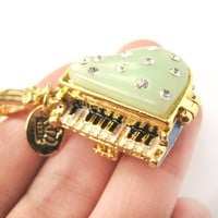 Grand Piano Shaped Locket Pendant Necklace with Rhinestones | Limited Edition