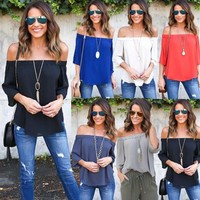 Off One Shoulder Blouses Ladies Long Sleeve Casual Blouse