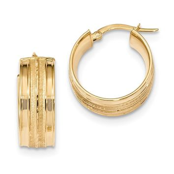 14k Solid Gold 21 mm Polished & Satin Hoop Earrings