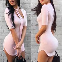 U-shaped Collar 1/2 Sleeves Bodycon Slim Dress With Tie