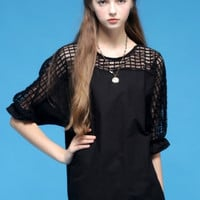 Black Grid Cut-outs Puff Sleeve Blouse