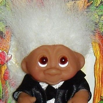 ONETOW WEDDING GROOM Dam Troll Doll 3' NEW Wedding Party - Groom White Hair
