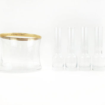 Paul Revere Glass Barware Set / Vintage Ice Bucket, Shot Glasses / Gold Rim / Science Beaker Test Tube Inspired / Party Cocktails, Bar Cart