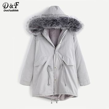 Dotfashion Faux Fur Hooded Shearling Lined Coat 2017 Grey Zipper Long Sleeve Top Female Single Breasted Knee Length Coat