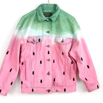 DENIM WATERMELON JACKET,  hand painted vintage Levis jean jacket, napkin