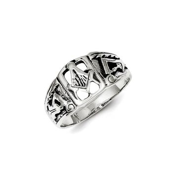 Sterling Silver Antiqued Masonic Ring