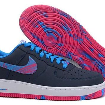Nike Air Force 1 Low Navy Blue & Vivid Pink Men's Casual Shoes Sneakers