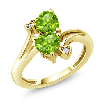 1.69 Ct Heart Shape Green Peridot 18K Yellow Gold Plated Silver Ring