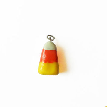 Polymer Clay Charm - Candy Corn Charm - Candy Corn Pendent - Halloween Charm  - Food Jewelry - Food Charm  - Polymer Clay Food