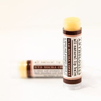 Coffeehouse Lip Balm Set - All Natural - Brandy Coffee, Hazelnut Coffee, Iced Mocha Coffee - 3 Flavors