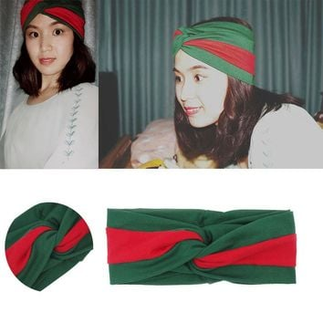 Women Headband 2017 Headscarf Cotton Twisted Cross Head Wrap Classic Turban Head Scarf Lady Turbante New 2017 Red and Dark Green