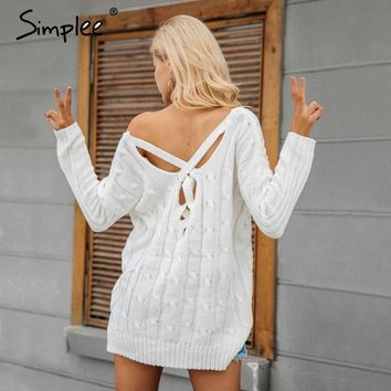 Simple Autumn cross top Backless knitted winter knitwear Loose jumpers white pullover sweater