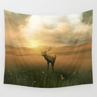 The deer into the lights Wall Tapestry by vivianagonzlez